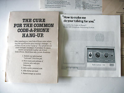 CODE-A-PHONE Vintage Answering Machine Instructions And Order Forms