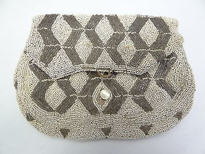 Vintage Used Old White Small Beaded Handbag Bag Purse Clutch Accessory Antique?