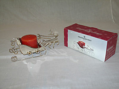 Holiday Reindeer & Sleigh Pillar Holder w/Candle by International Silver Company