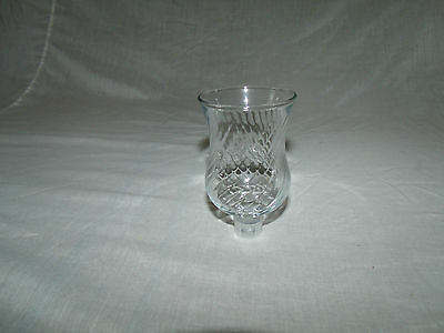 1 Short Clear Glass Swirl Pattern Vtg Home Interior Votive Cup Candle Holder
