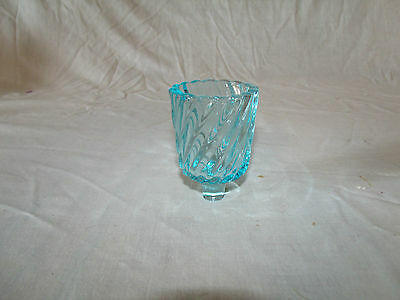 1 Small Rare Blue Swirl Ribbed Glass Vtg Home Interior Votive Cup Candle Holder