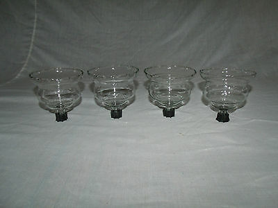 4 Short Fat Clear Glass Vtg Home Interior Votive Cup Candle Holders: Etched Leaf