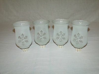 4 SATIN GLASS VTG HOME INTERIOR VOTIVE CUP CANDLE HOLDERS w/SNOWFLAKE DESIGNS