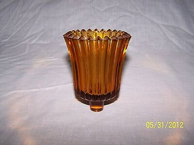 1 Thick Solid Amber Ribbed Glass Vintage Home Interior Votive Cup Candle Holder
