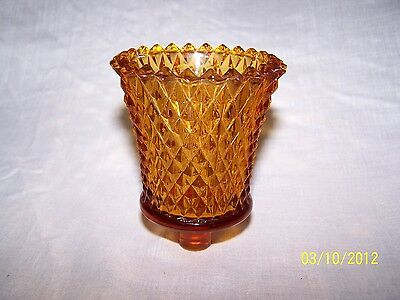 1 Amber Diamond Point Cut Glass Vintage Home Interior Votive Cup Candle Holder