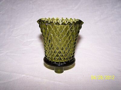 1 Solid Green Diamond Cut Glass Vintage Home Interior Votive Cup Candle Holder