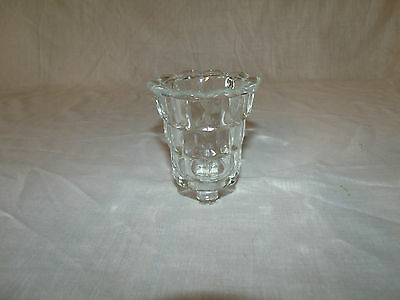 1 Clear Cubed Glass Vintage Fostoria Votive Cup Candle Holder