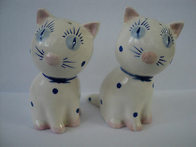 Rare Plichta Kitten Cat Cruet Salt Pepper Set ornament Blue Eyes White Figurine