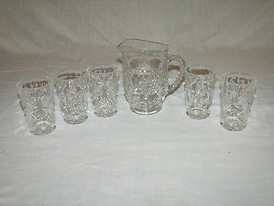 Early American Prescut/EAPC Pint Pitcher & 5 Juice Glasses By Anchor Hocking