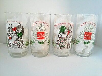 Vintage 1980 Holly Hobbie & Robby Coca-Cola Glasses Deck the Halls Christmas 4