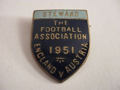 Rare Old 1951 England V Austria Football Match Steward Enamel Brooch Pin Badge