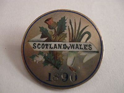 1890 Scotland V Wales Football Match Hallmarked Silver Enamel Brooch Pin Badge