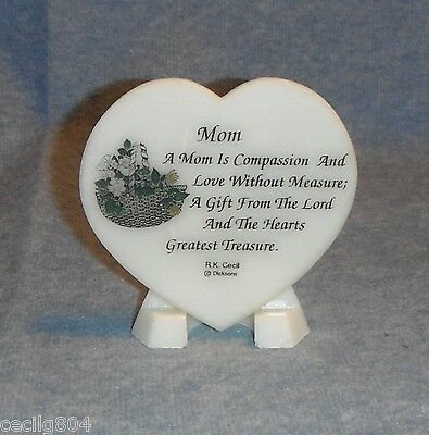 Mom  Heart Shaped Soapstone Plaque On Easel