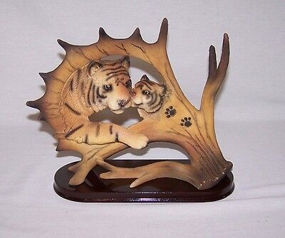 """Tiger  Bust & Young  On """"antler""""  With Wood Base Figurine"""