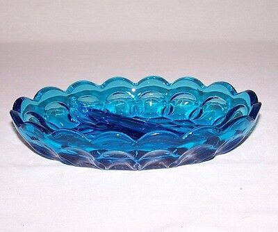 Vintage Blue Indiana Glass Divided Mint Or Nut Dish