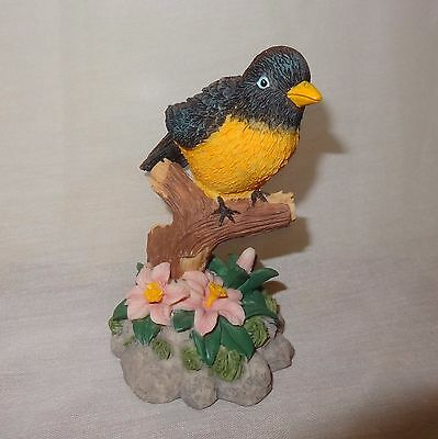 "Bird on Branch Black Yellow Figurine 4""  Resin Pink Flowers"
