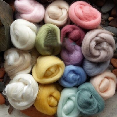 17 Colors Fibre Wool Roving For Needle Felting Spinning DIY Craft Material Set