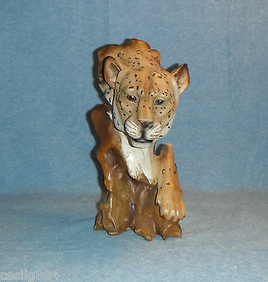 Wood Like Leopard Bust And Paw Figurine