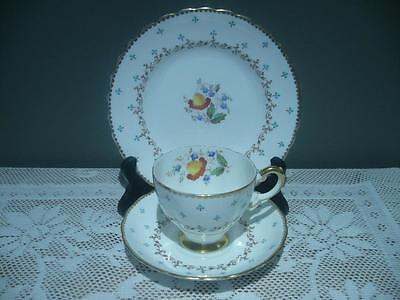 Vintage Plant Tuscan Bone China Hand Accented Floral Gilt Trio - England - Gc