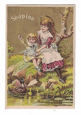 Soapine Trade Card - Two Young Girls by Stream  - Kendall Mfg Co