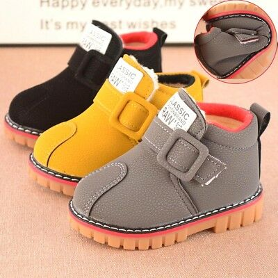 Toddler Kids Baby Girls Boys Leather Shoes Winter Martin Snow Boots Sport Shoes