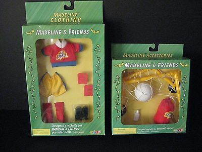 """2 NEW -  8"""" Madeline Doll  Soccer Uniform and Soccer/Play Accessory Set"""