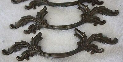 Vintage French Provincial Brass Pulls Drawer Handles Pull Victorian