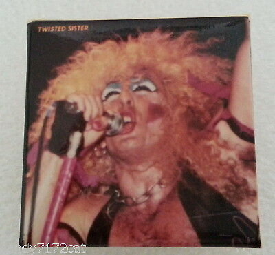 Pinback Button Twisted Sister1980s Vintage T S Metal Rock Glam Square Badge Pin