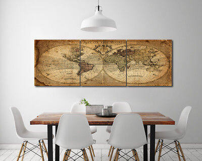 Vintage Map of the World Abstract Art Wall Decor Photo Painting Canvas NO frame