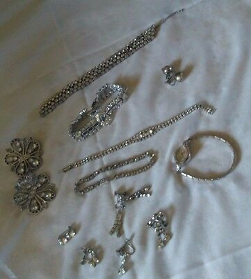 LOT OF VINTAGE Rhinestone JEWELRY FOR wearable & repair PLUS antique watch