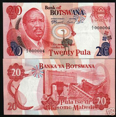 Botswana Africa 20 Pula 5B 1976 Zebra Unc Low Number 000004 Rare Currency Money