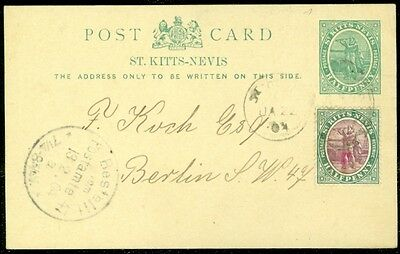 EDW1949SELL : ST KITTS Beautiful 1904 uprated Post Card to Germany.