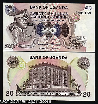 Uganda 20 Shillings P7 1973 Idi Amin Unc Currency Money Bill Africa Bank Note