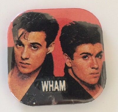 "Vintage 80s WHAM band pinback button pin UK badge George Michael 1.5"" New Wave"