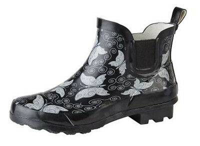 Womens Short Ankle Length Wellington Wellies Boots Black Butterfly Print 3 - 9