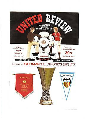 Manchester United v Valencia UEFA Cup Football Programme 1982/83