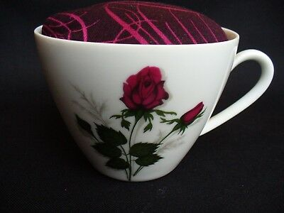 Teacup Pincushion. Sewing Accessories. Red Roses Pattern Bone China Cup
