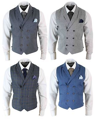 Mens Vintage Peaky Blinders Double Breasted Waistcoat Tweed Check Smart Casual