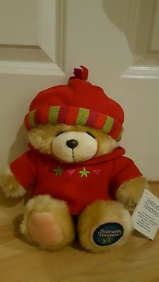 Forever Friends Hallmark Plush Soft Toy Teddy Bear Red Winter Outfit