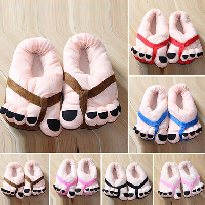 Funny Women Winter Soft Cartoon Warm Plush Toe Big Feet Home Floor Slippers Size