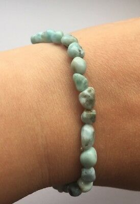 Larimar 8mm Bead Crystal Gemstone Bracelet *Very Rare* From Dominican Republic