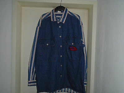 Cross Colours 1990's denim and striped Hip Hop 2 piece 36 x 36, jacket size 52""