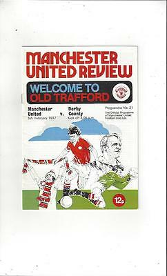 Manchester United v Derby County 1976/77 Football Programme