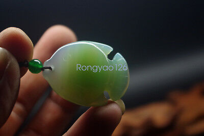 Natural light green agate jade carved lovely fish ice jade pendant