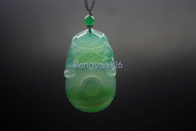 Natural light green agate carving ancient beast ancient beast ice jade pendant