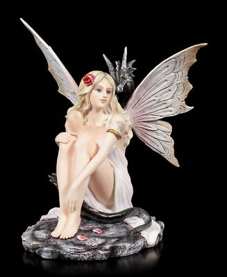 Fairies Figurine - Valaria with Black Dragon - Elf Fantasy dekofee Statue