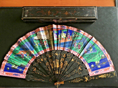 19Th Century China Chinese Hundred Faces Hand Painted Export Fan Eventail & Box