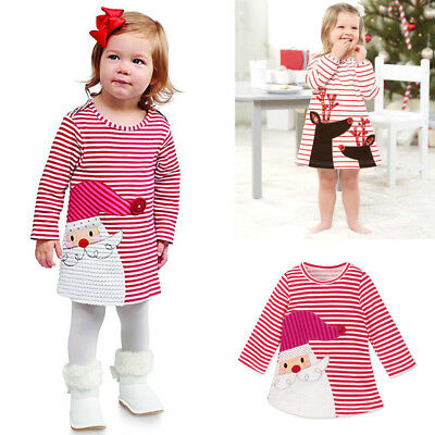 Toddler Baby Girls Santa Striped Princess Dress Christmas Ball Gown Kids Clothes