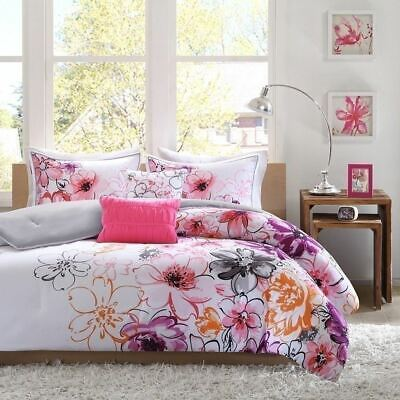 8-PC Complete Bed Set Comforter Pink Purple Floral Flowers King Queen Full Twin