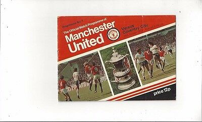 Manchester United v Coventry City 1977/78 Football Programme